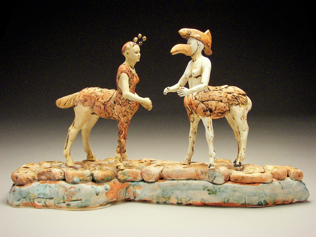 Encounter by Magi Calhoun, clay with oxides and underglazes