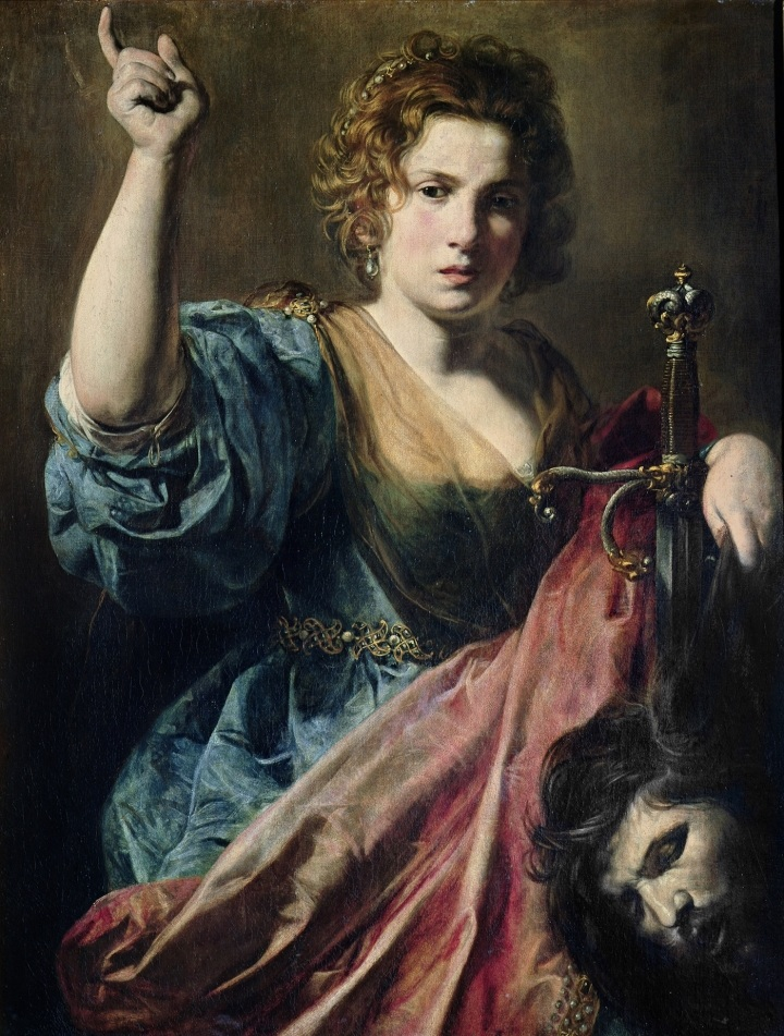 "Valentin de Boulogne, ""Judith with the Head of Holofernes"" (ca. 1626-27), oil on canvas, 38 2/16 x 29 1/8 inches, Musée des Augustins, Toulouse"