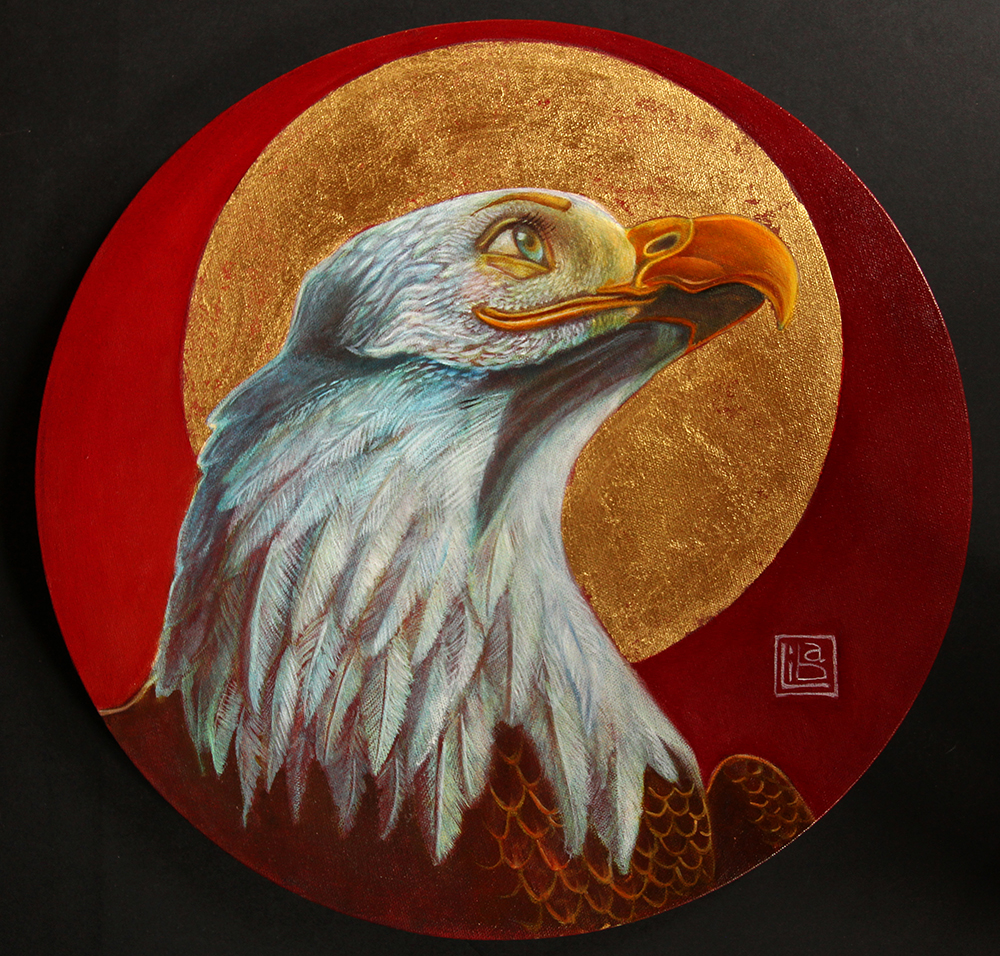 Self Portrait with Eagle by Liba Waring Stambollion