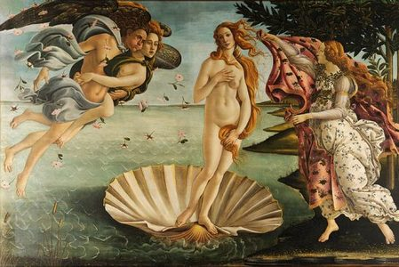 Pictured is a familiar piece, the Birth of Venus by Sandro Boticelli.